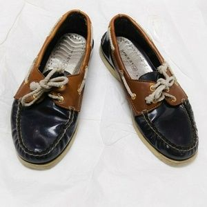 Sperry Topsiders Blue and Tan Leather Loafers